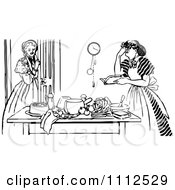 Clipart Vintage Black And White Girl Watching A Frustrated Woman Cook Royalty Free Vector Illustration