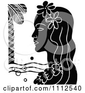 Clipart Retro Black And White Hawaiian Woman With A Floral Lei And Palm Tree Royalty Free Vector Illustration