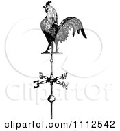 Clipart Vintage Black And White Rooster Weathervane Royalty Free Vector Illustration