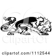 Clipart Vintage Black And White Floral Lion Royalty Free Vector Illustration
