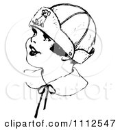 Clipart Retro Black And White Girl Wearing A Dog Hat Royalty Free Vector Illustration by Prawny Vintage