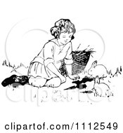 Clipart Retro Black And White Girl Playing With Bunnies Royalty Free Vector Illustration by Prawny Vintage