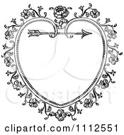 Clipart Black And White Ornate Vintage Floral Heart And Arrow Frame Royalty Free Vector Illustration