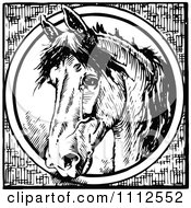 Clipart Vintage Black And White Horse Through A Circle Royalty Free Vector Illustration