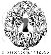 Clipart Vintage Black And White Keyhole With Flowers And Swans Royalty Free Vector Illustration