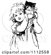 Clipart Cute Black And White Retro Girl Holding Up A Kitten Royalty Free Vector Illustration by Prawny Vintage