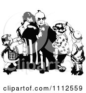 Clipart Vintage Black And White Children Climbing On Their Dad Royalty Free Vector Illustration by Prawny Vintage