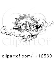 Clipart Vintage Cherubs In The Clouds Against The Sun Royalty Free Vector Illustration