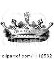 Clipart Vintage Black And White Coronet Crown 2 Royalty Free Vector Illustration