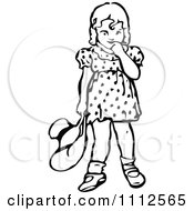 Clipart Retro Black And White Bashful Girl Holding A Hat And Looking Down Royalty Free Vector Illustration