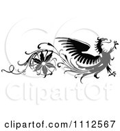 Clipart Vintage Black And White Floral And Dragon Design Element Royalty Free Vector Illustration