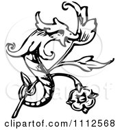 Vintage Black And White Dragon And Branch Design Element