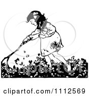 Clipart Retro Black And White Girl Raking Autumn Leaves Royalty Free Vector Illustration
