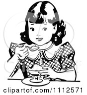 Clipart Retro Black And White Girl Eating Dessert Royalty Free Vector Illustration by Prawny Vintage