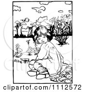 Clipart Retro Black And White Girl Planting In A Garden Royalty Free Vector Illustration