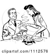 Clipart Retro Black And White Woman Pouring Her Husband Coffee Royalty Free Vector Illustration
