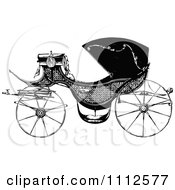 Clipart Vintage Black And White Carriage Royalty Free Vector Illustration
