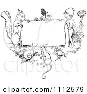 Clipart Black And White Vintage Frame With Animals And A Gnome Royalty Free Vector Illustration by Prawny Vintage #COLLC1112579-0178