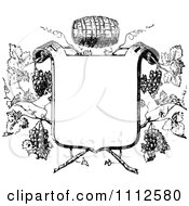 Clipart Black And White Vintage Frame With Wine Barrels And Grapes Royalty Free Vector Illustration by Prawny Vintage