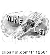 Clipart Vintage Black And White Cork Flying With Wine List Text Royalty Free Vector Illustration by Prawny Vintage