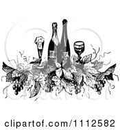 Clipart Vintage Black And White Wine Bottles Glasses Grapes And Leaves Royalty Free Vector Illustration by Prawny Vintage