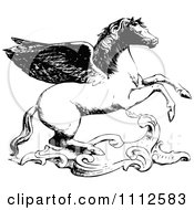 Clipart Vintage Black And White Winged Horse Royalty Free Vector Illustration