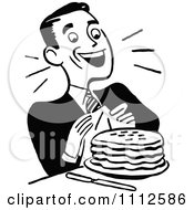 Clipart Retro Black And White Happy Man With Pancakes Royalty Free Vector Illustration