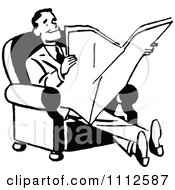 Clipart Retro Black And White Happy Man Reading A Newspaper Royalty Free Vector Illustration