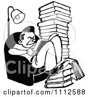 Clipart Retro Black And White Grumpy Reading Books And Studying Royalty Free Vector Illustration