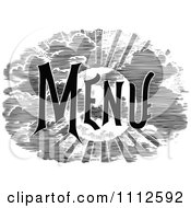 Clipart Vintage Black And White Menu Text With A Sun And Clouds Royalty Free Vector Illustration