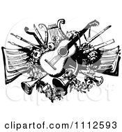 Clipart Vintage Black And White Guitar Lyre Horns And Other Instruments Over Sheet Music Royalty Free Vector Illustration