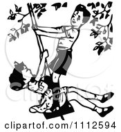 Clipart Retro Black And White Boy And Girl Playing On A Swing Royalty Free Vector Illustration