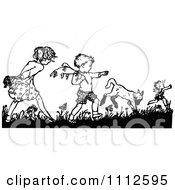 Retro Black And White Boy And Girl Picking Flowers