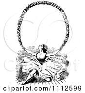 Clipart Vintage Ballerina Holding Up A Floral Frame Royalty Free Vector Illustration