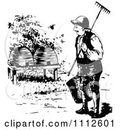Clipart Retro Black And White Beekeeper Approaching Hives Royalty Free Vector Illustration