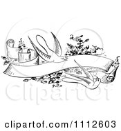 Clipart Retro Black And White Birds With Flowers And A Banner Royalty Free Vector Illustration