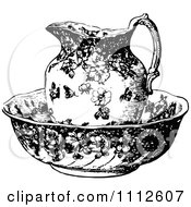 Clipart Vintage Black And White Pitcher In A Bowl Royalty Free Vector Illustration