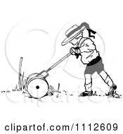 Clipart Retro Black And White Boy Mowing A Lawn Royalty Free Vector Illustration