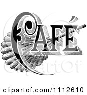 Clipart Vintage Black And White Cafe Sign 1 Royalty Free Vector Illustration
