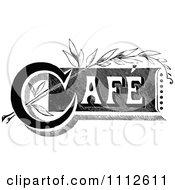 Clipart Vintage Black And White Cafe Sign 2 Royalty Free Vector Illustration by Prawny Vintage