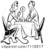 Clipart Retro Black And White Couple Dining By Candle Light Royalty Free Vector Illustration