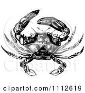 Clipart Black And White Vintage Crab 2 Royalty Free Vector Illustration
