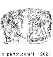 Clipart Retro Black And White Children Dancing In A Ring Of Sheet Music Royalty Free Vector Illustration
