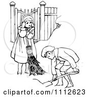 Clipart Retro Black And White Children Shoveling Snow Royalty Free Vector Illustration by Prawny Vintage