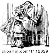 Clipart Alice Holding A Key And Looking At A Tiny Door To Wonderland Royalty Free Vector Illustration by Prawny Vintage
