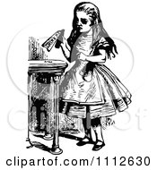 Clipart Alice Holding A Drink Me Bottle Before Entering Wonderland Royalty Free Vector Illustration by Prawny Vintage