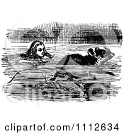 Alice Swimming With A Mouse In Wonderland