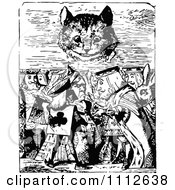 Clipart The Cheshire Cat Looking Over The King And Queen In Wonderland Royalty Free Vector Illustration by Prawny Vintage