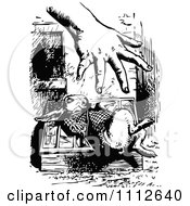 Clipart The White Rabbit Shying Away From The Hand Of Giant Alice In Wonderland Royalty Free Vector Illustration