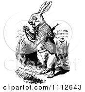 Clipart The White Rabbit Checking His Pocket Watch In Wonderland Royalty Free Vector Illustration by Prawny Vintage